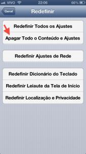 Apagando todo o conteúdo. iOS 6.0.1