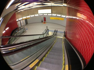 escadas do metrô fisheye