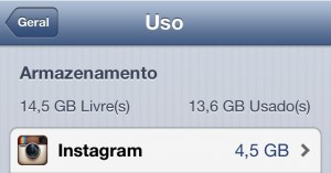 instagram ocupa 4,5GB
